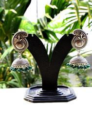 German Silver Jhumkas/Jhumkis- Dark Green Beads 1