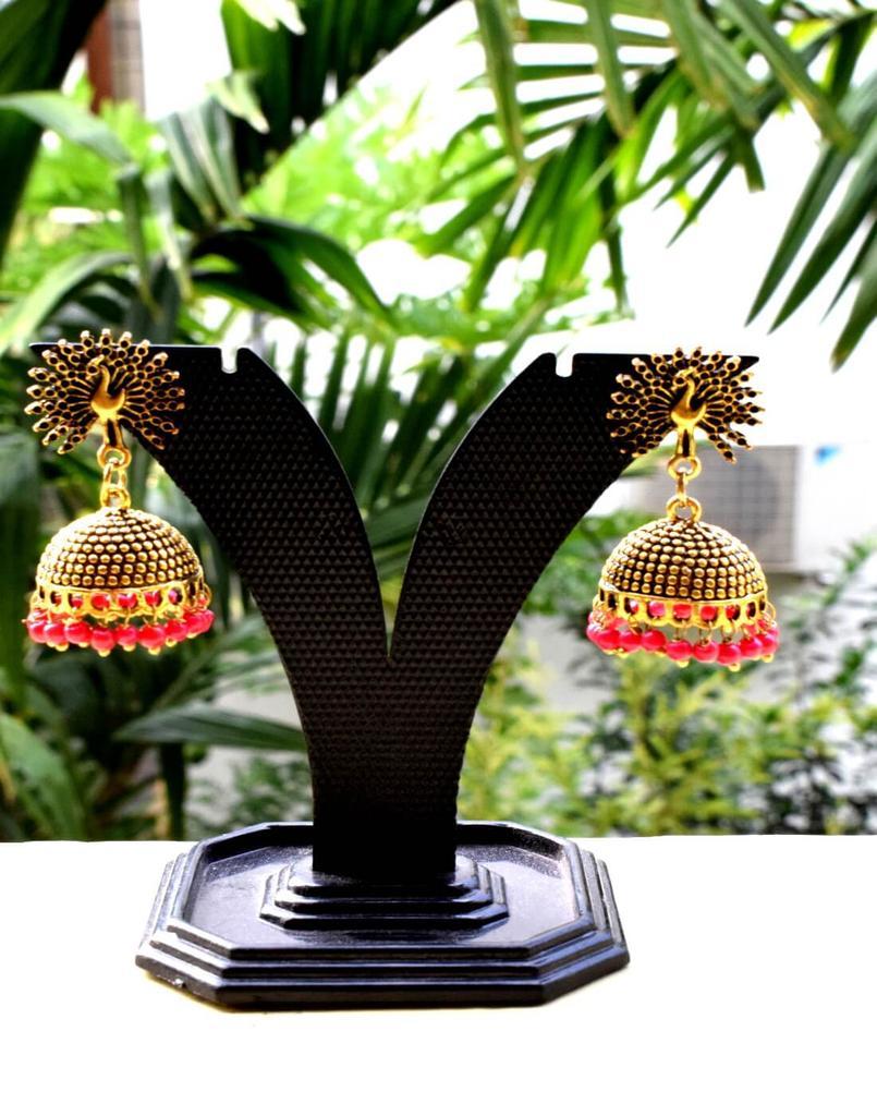 German Silver Gold Polish Flower Stud Jhumkas/Jhumkis- Red Beads