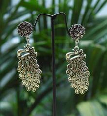 German Silver Jhumkas/Danglers- Peacock Danglers