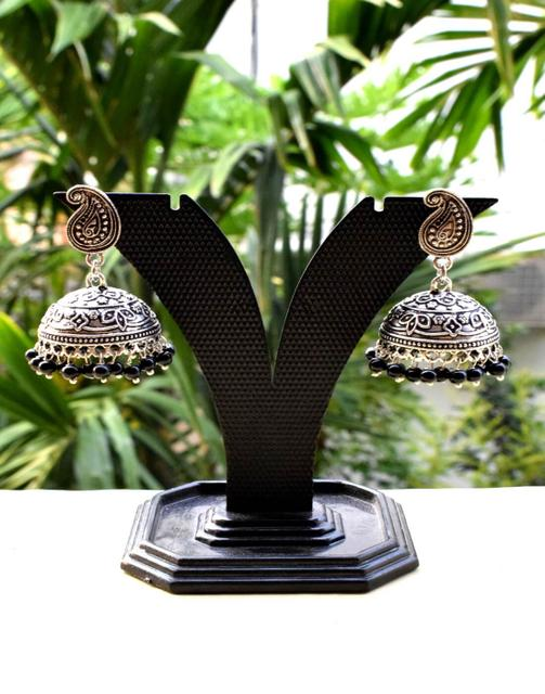 German Silver Jhumkas/Jhumkis- Black Beads