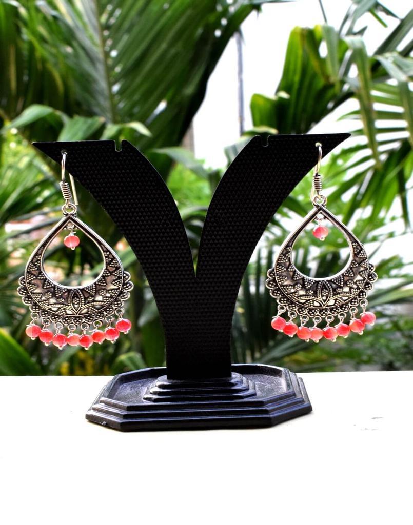 German Silver Jhumkas/Danglers- Peach Beads