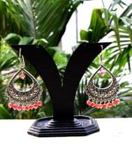 German Silver Jhumkas/Danglers- Peach Beads