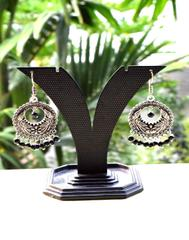 German Silver Jhumkas/Danglers- Black Beads