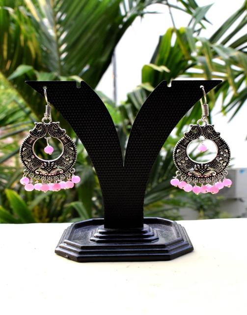 German Silver Jhumkas/Danglers- Light Pink Beads