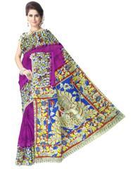 Kalamkari Saree in Cotton-Purple