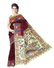 Kalamkari Saree in Cotton-Dark Maroon
