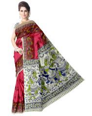 Kalamkari Saree in Cotton-Pink