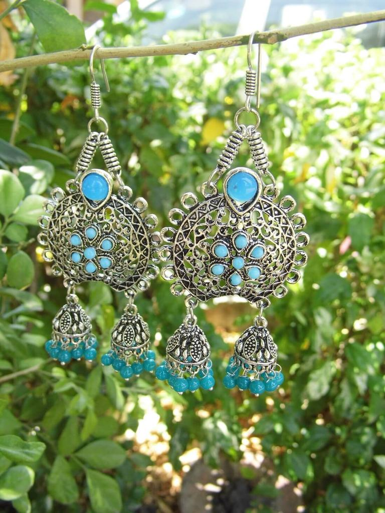 Oxidized Metal Earrings with Twin Jhumkis- Turquoise Stone
