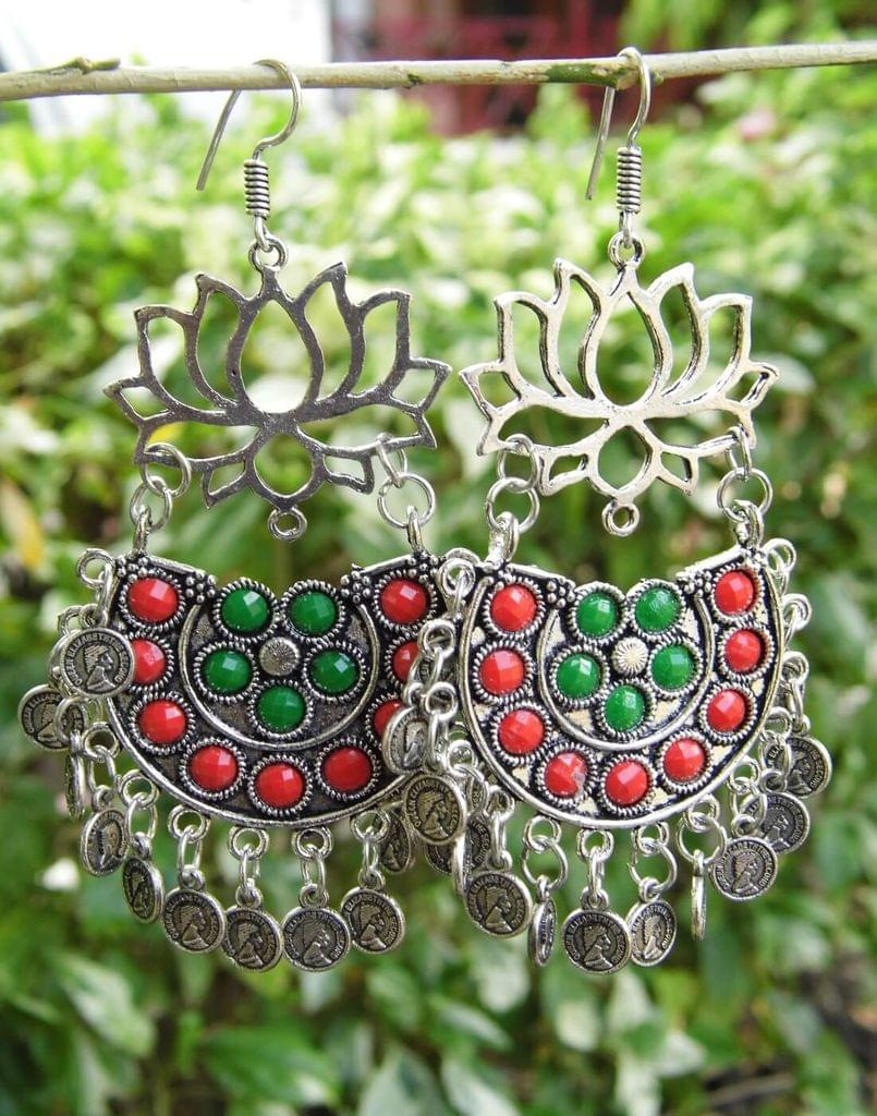 Afghani Earrings/Chandbalis in Alloy Metal- Lotus Pattern 1