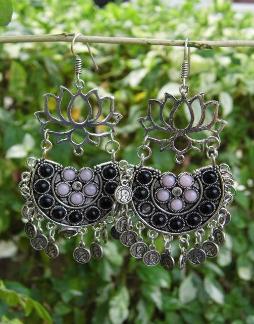 Afghani Earrings/Chandbalis in Alloy Metal- Lotus Pattern 8