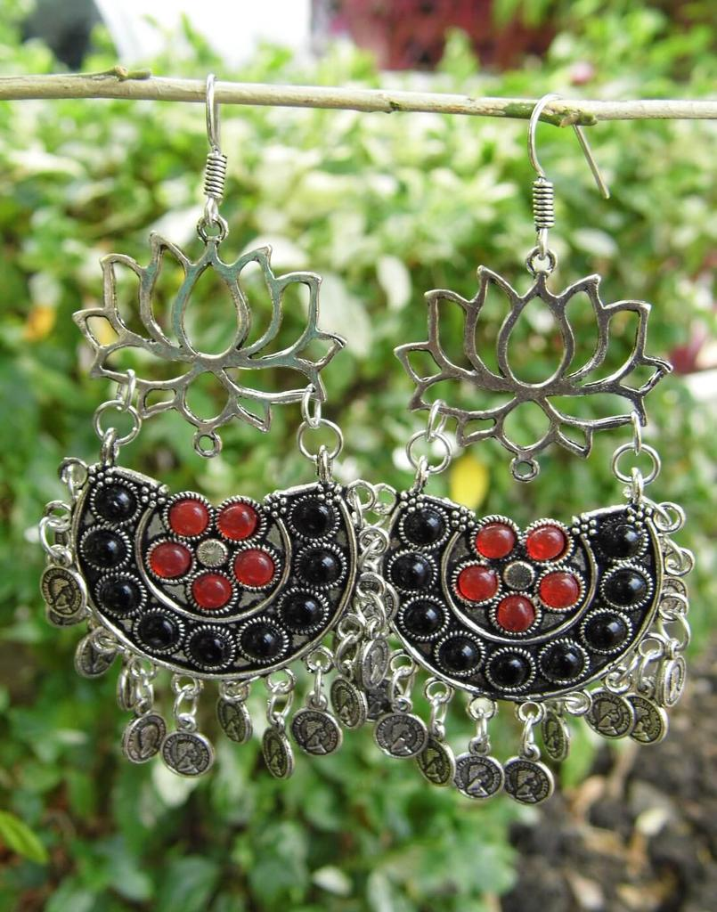 Afghani Earrings/Chandbalis in Alloy Metal- Lotus Pattern 3