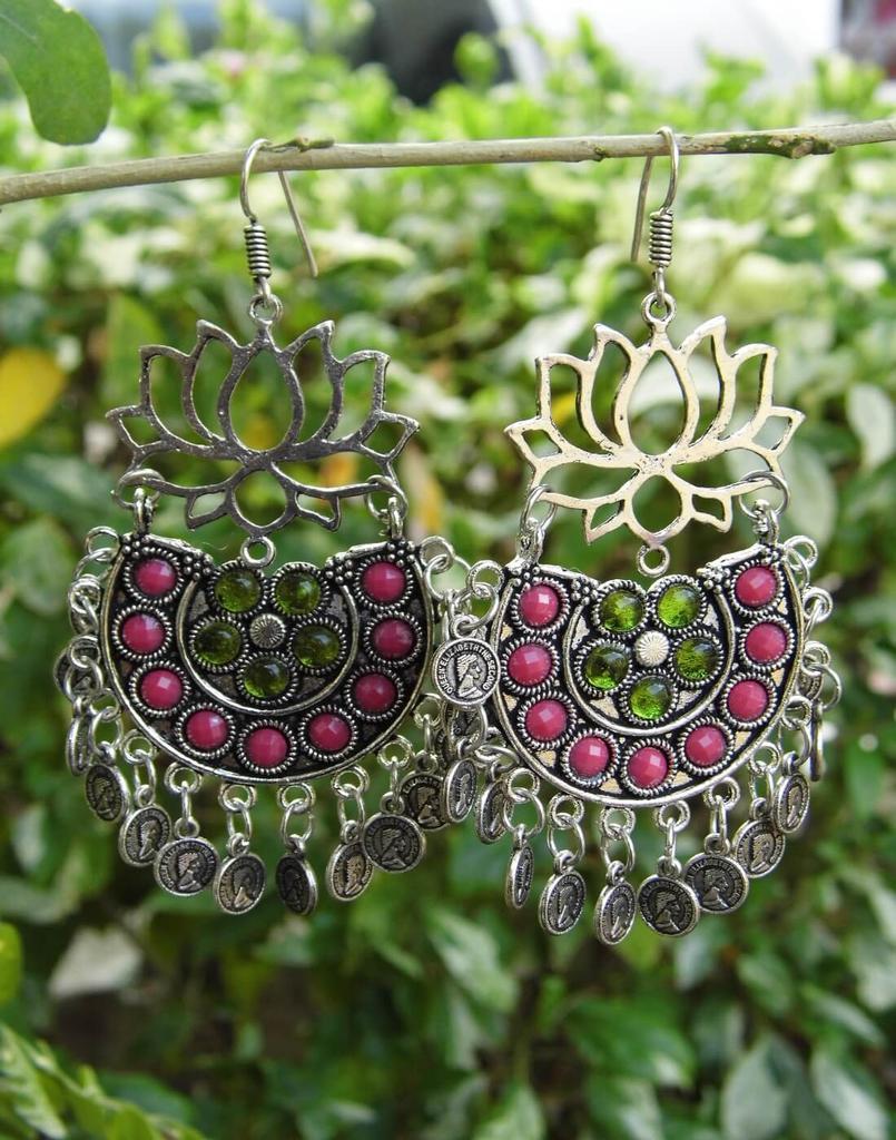 Afghani Earrings/Chandbalis in Alloy Metal- Lotus Pattern 4
