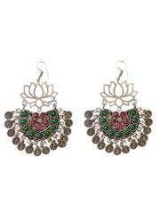 Afghani Earrings/Chandbalis in Alloy Metal- Lotus Pattern 6