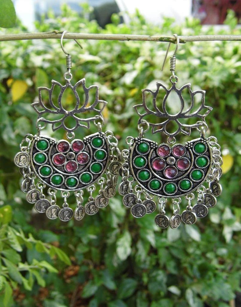 Afghani Earrings/Chandbalis in Alloy Metal- Lotus Pattern 6