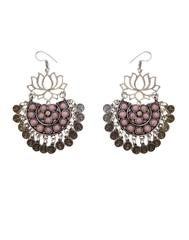 Afghani Earrings/Chandbalis in Alloy Metal- Lotus Pattern 7