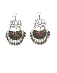 Afghani Earrings/Chandbalis in Alloy Metal- Lotus Pattern 2
