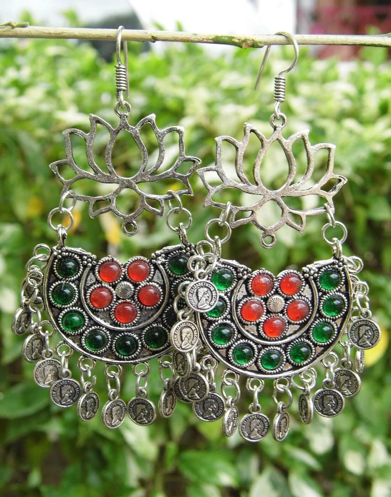 Afghani Earrings/Chandbalis in Alloy Metal- Lotus Pattern 17