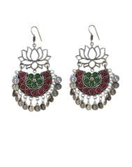 Afghani Earrings/Chandbalis in Alloy Metal- Lotus Pattern 18