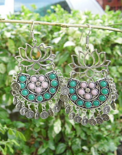 Afghani Earrings/Chandbalis in Alloy Metal- Lotus Pattern 16