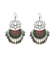 Afghani Earrings/Chandbalis in Alloy Metal- Lotus Pattern 13