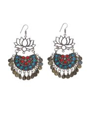 Afghani Earrings/Chandbalis in Alloy Metal- Lotus Pattern 15