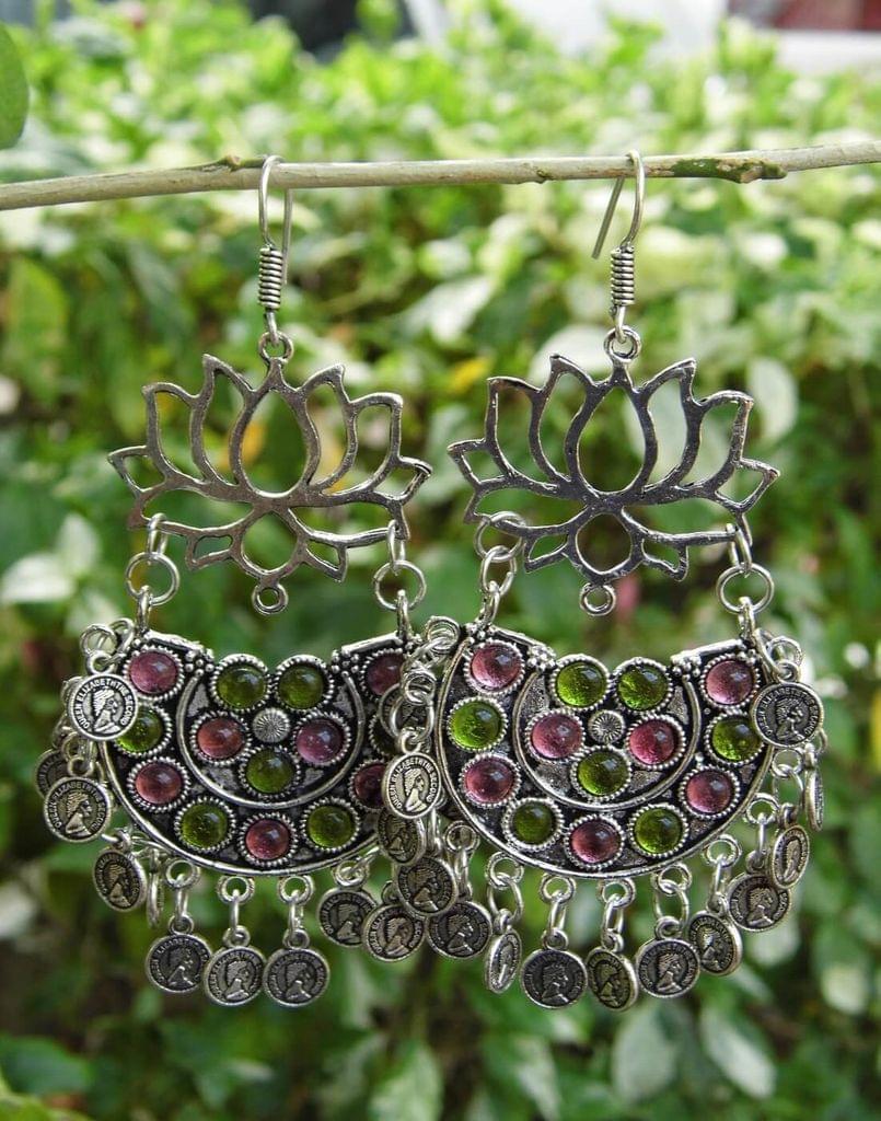Afghani Earrings/Chandbalis in Alloy Metal- Lotus Pattern 11