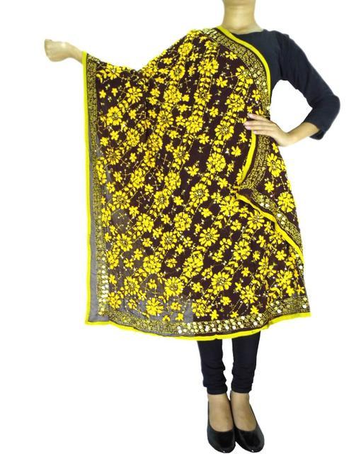 Phulkari Work Georgette Dupatta-Brown&Yellow