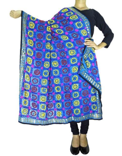 Phulkari Work Georgette Dupatta-Turquoise