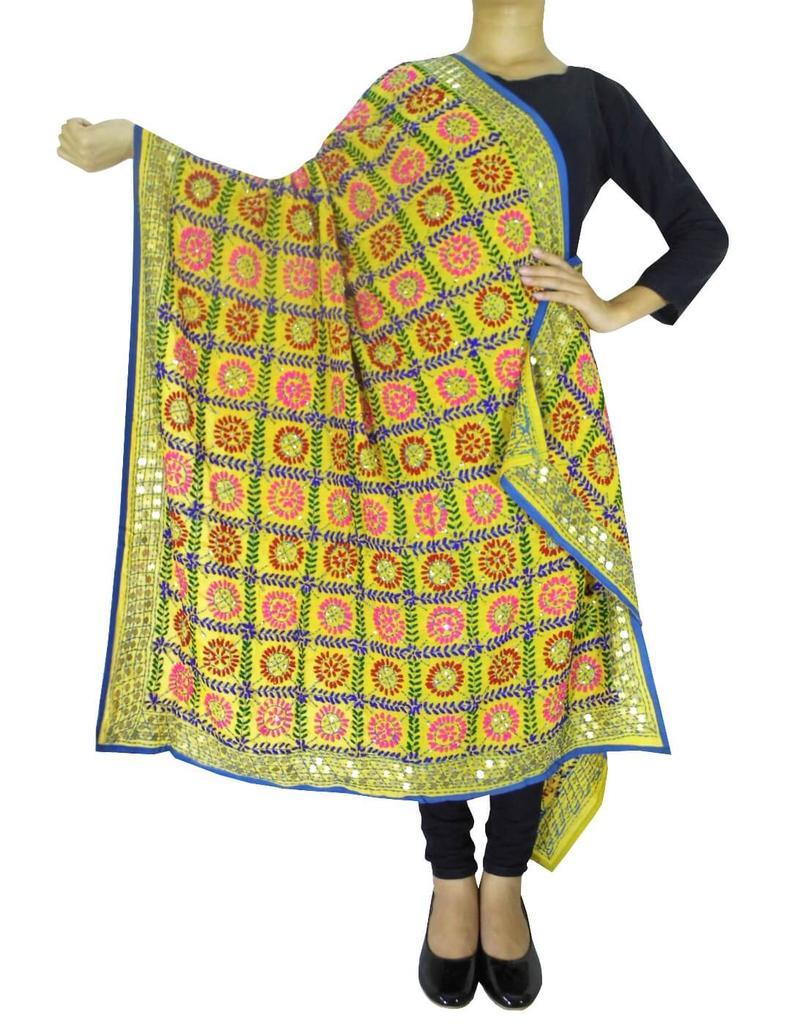 Phulkari Work Georgette Dupatta-Yellow