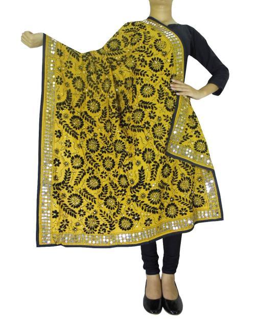 Phulkari Work Georgette Dupatta-Mustard Yellow&Black
