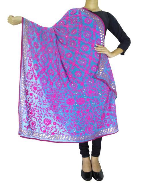 Phulkari Work Georgette Dupatta-Pink&Blue