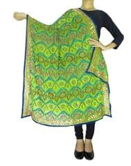Phulkari Work Georgette Dupatta-Green