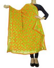 Phulkari Work Georgette Dupatta-Orange&Green