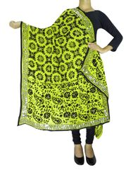 Phulkari Work Georgette Dupatta-Lime Yellow