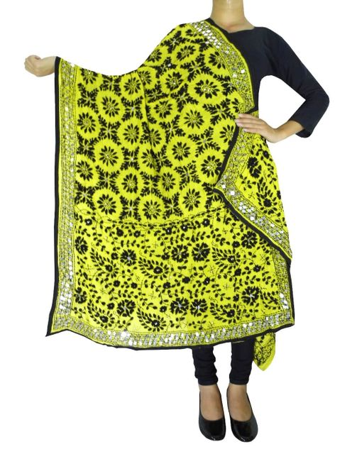 Phulkari Work Georgette Dupatta-Lime Yellow