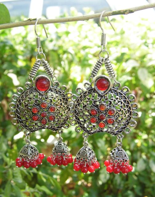 Oxidized Metal Earrings with Twin Jhumkis- Red Stone