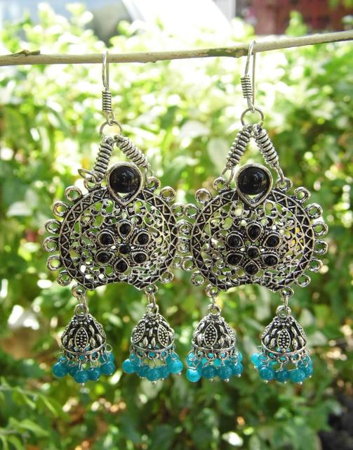 Oxidized Metal Earrings with Twin Jhumkis- Black&Turquoise Stone