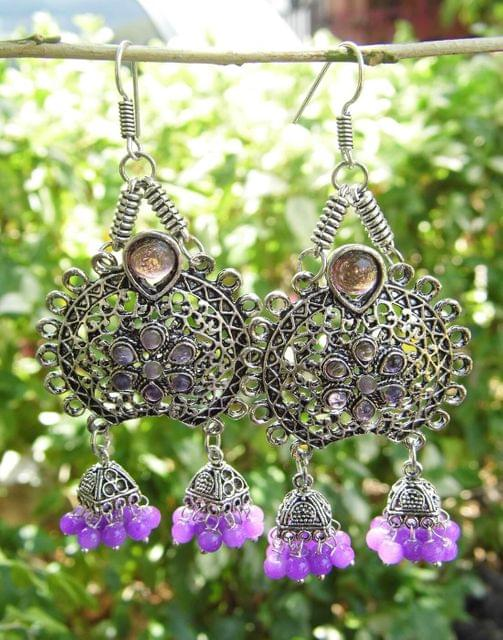 Oxidized Metal Earrings with Twin Jhumkis- Purple Stone