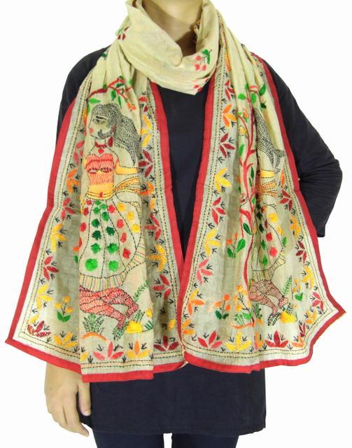 Chanderi Hand Embroidered Stole-Beige