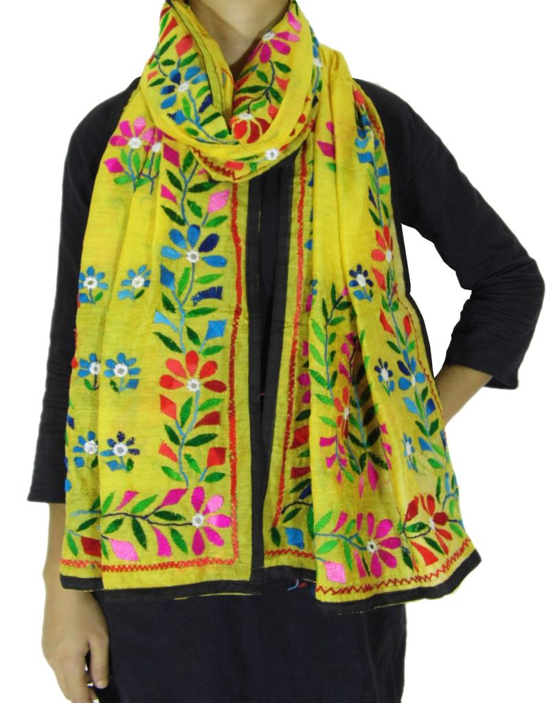 Chanderi Hand Embroidered Stole-Yellow 1