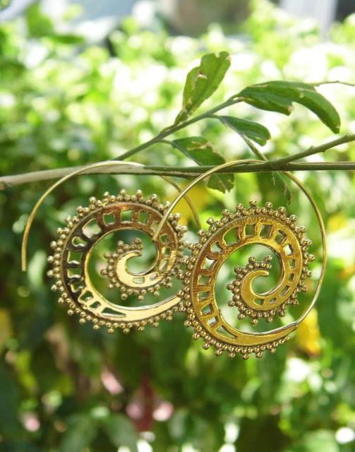Spiral Brass Earrings 2