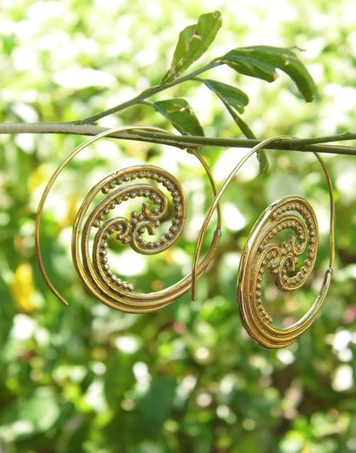 Spiral Brass Earrings 3