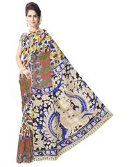Kalamkari Saree in Cotton-Multicolor 3