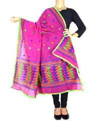 Chanderi Phulkari/Bagh Dupatta-Dark Pink