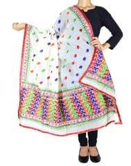 Chanderi Phulkari/Bagh Dupatta-White