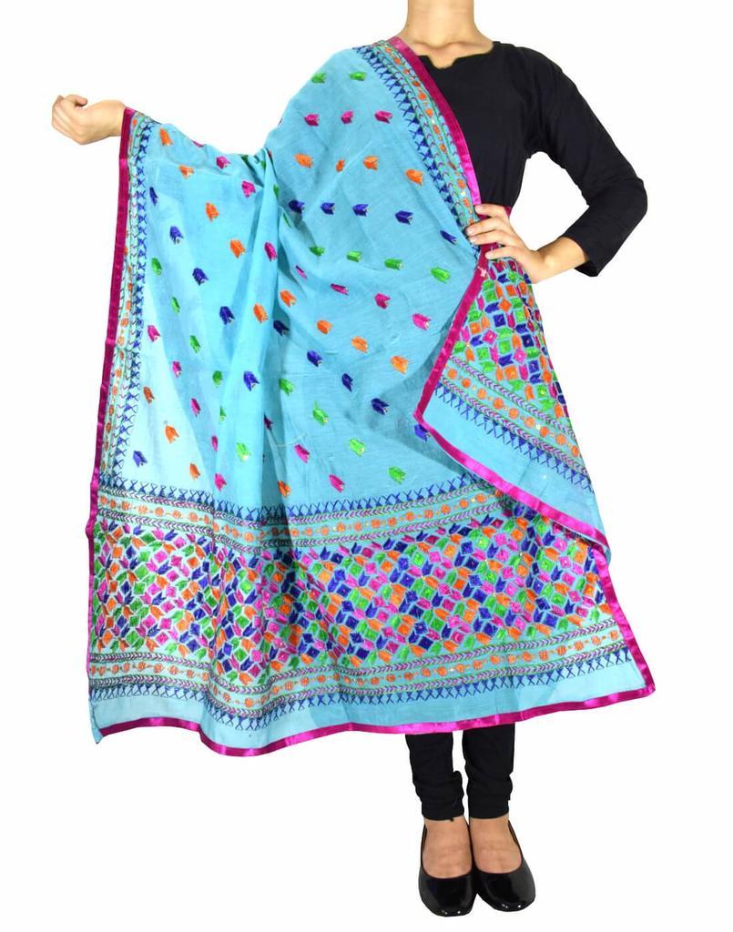 Chanderi Phulkari/Bagh Dupatta-Turquoise