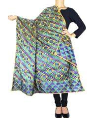 Cotton Bagh/Phulkari Dupatta-Dark Blue