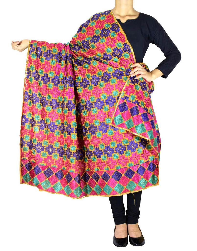 Cotton Bagh/Phulkari Dupatta-Multicolor