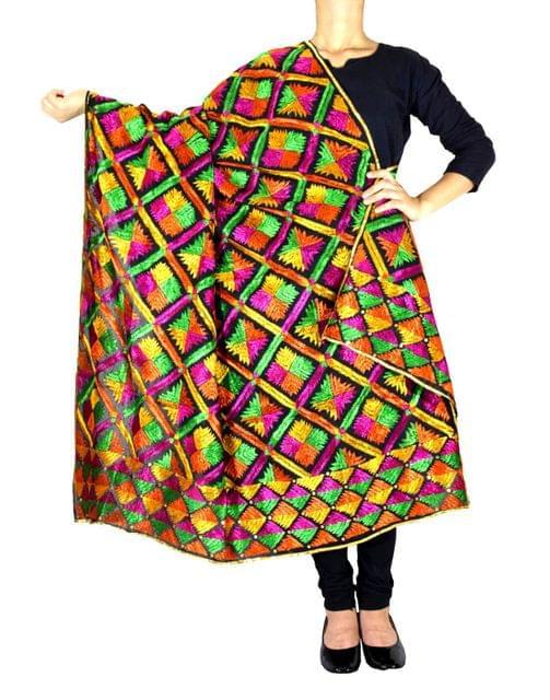 Cotton Bagh/Phulkari Dupatta-Black