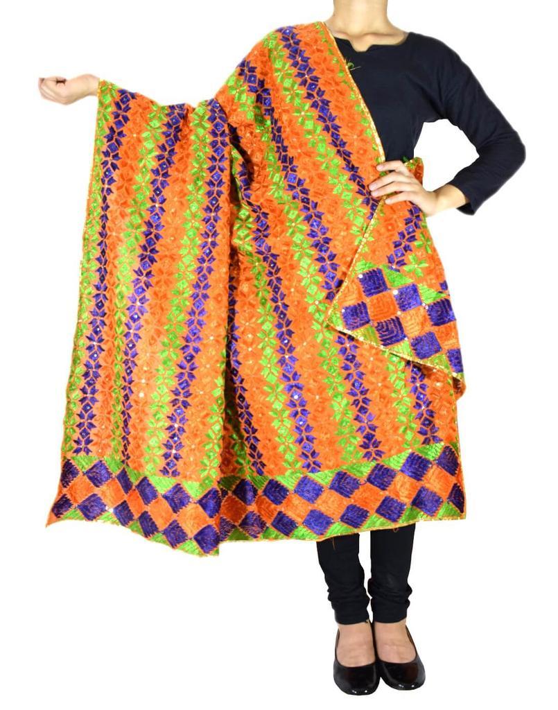 Cotton Bagh/Phulkari Dupatta-Orange&Blue
